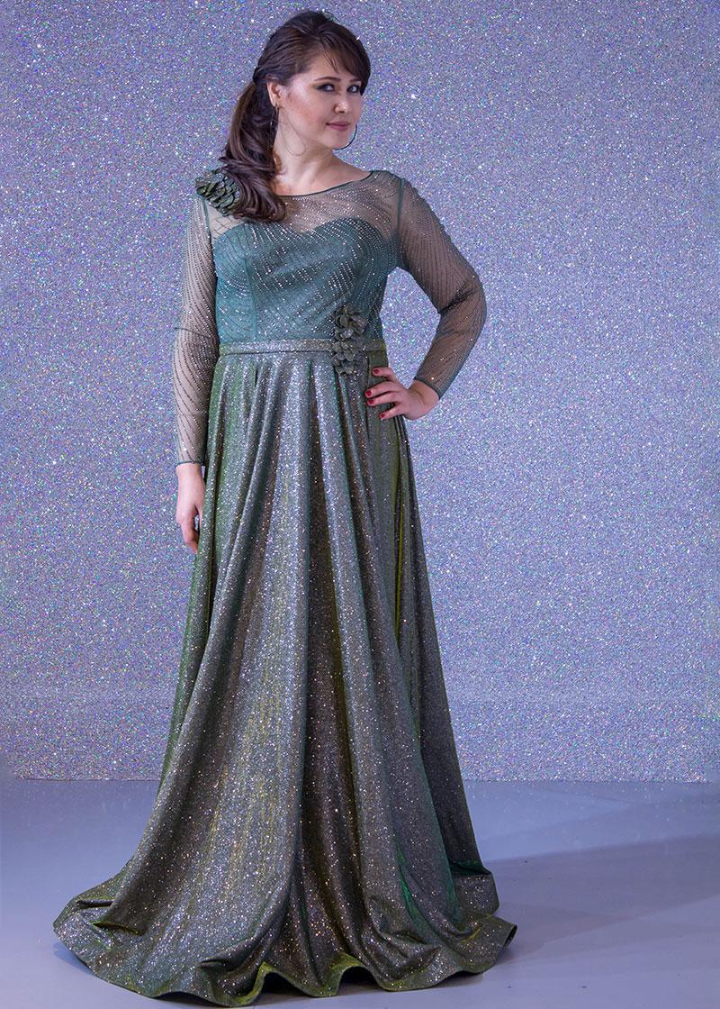 5948536bf فساتين السهرة: فستان سهرة طويل ديجراديه ليزر كم طويل