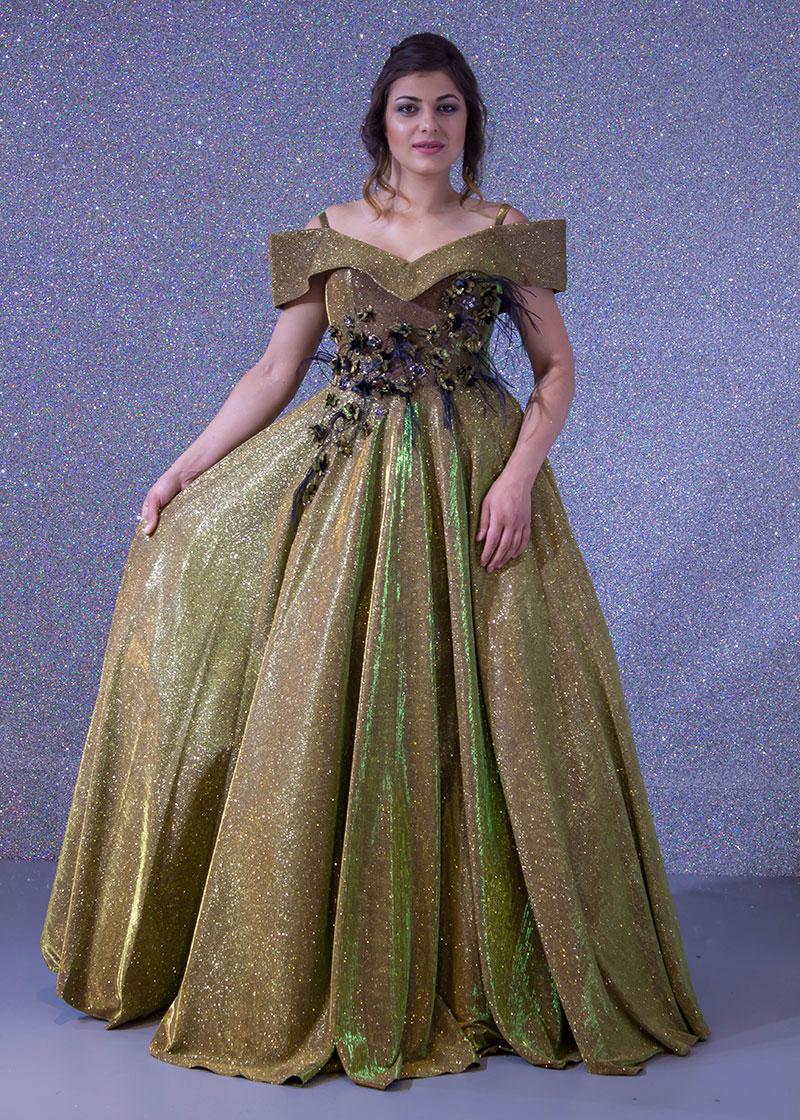 fbb53e94a فساتين السهرة: فستان سهرة طويل ديكراديه ليزر كتف بحري