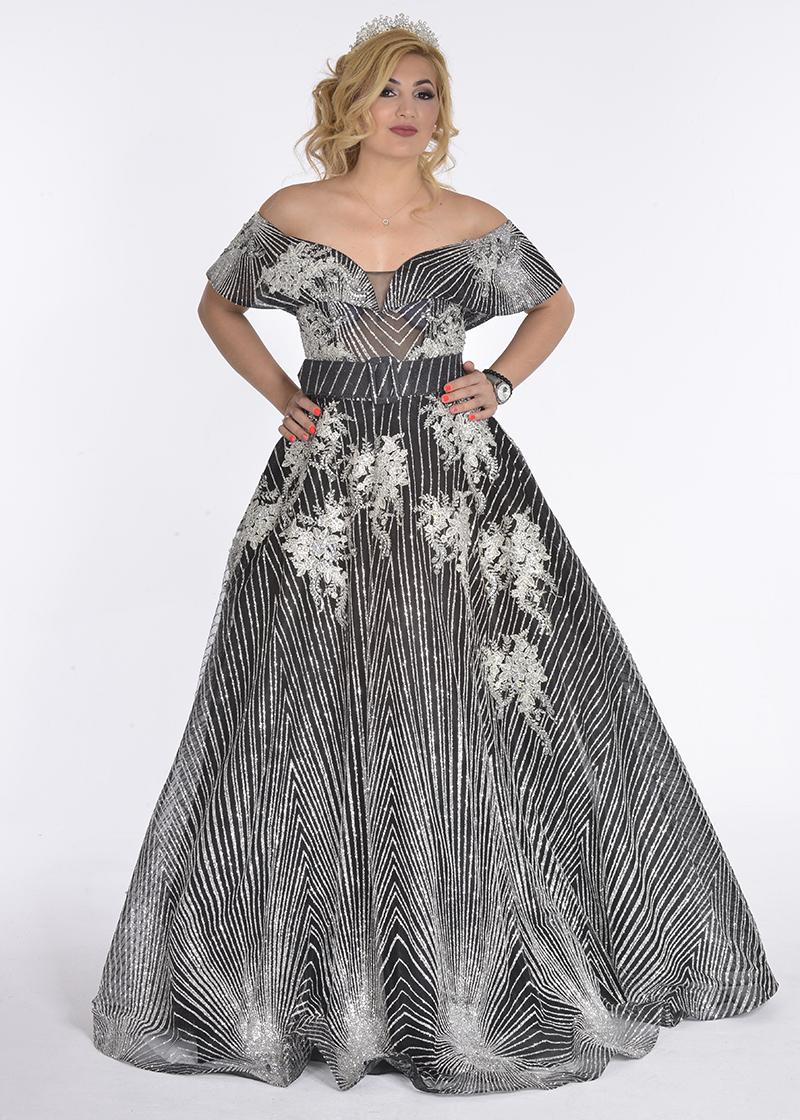 فستان سهرة تول ليزار وكرستال