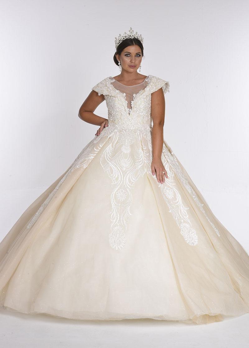 بدلة زفاف لون كريما