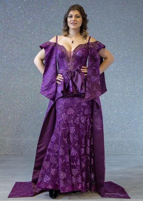 d3c9b82bf فساتين السهرة: فستان سهرة طويل ليزر ساتان كم مفتوح صدر مفتوح