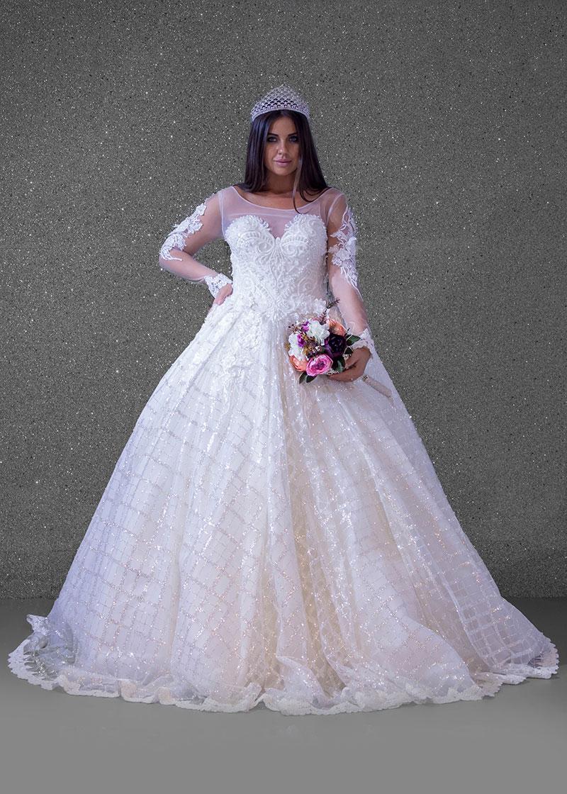 بدلة عروس اوف وايت  ليزر دانتيل  كم طويل
