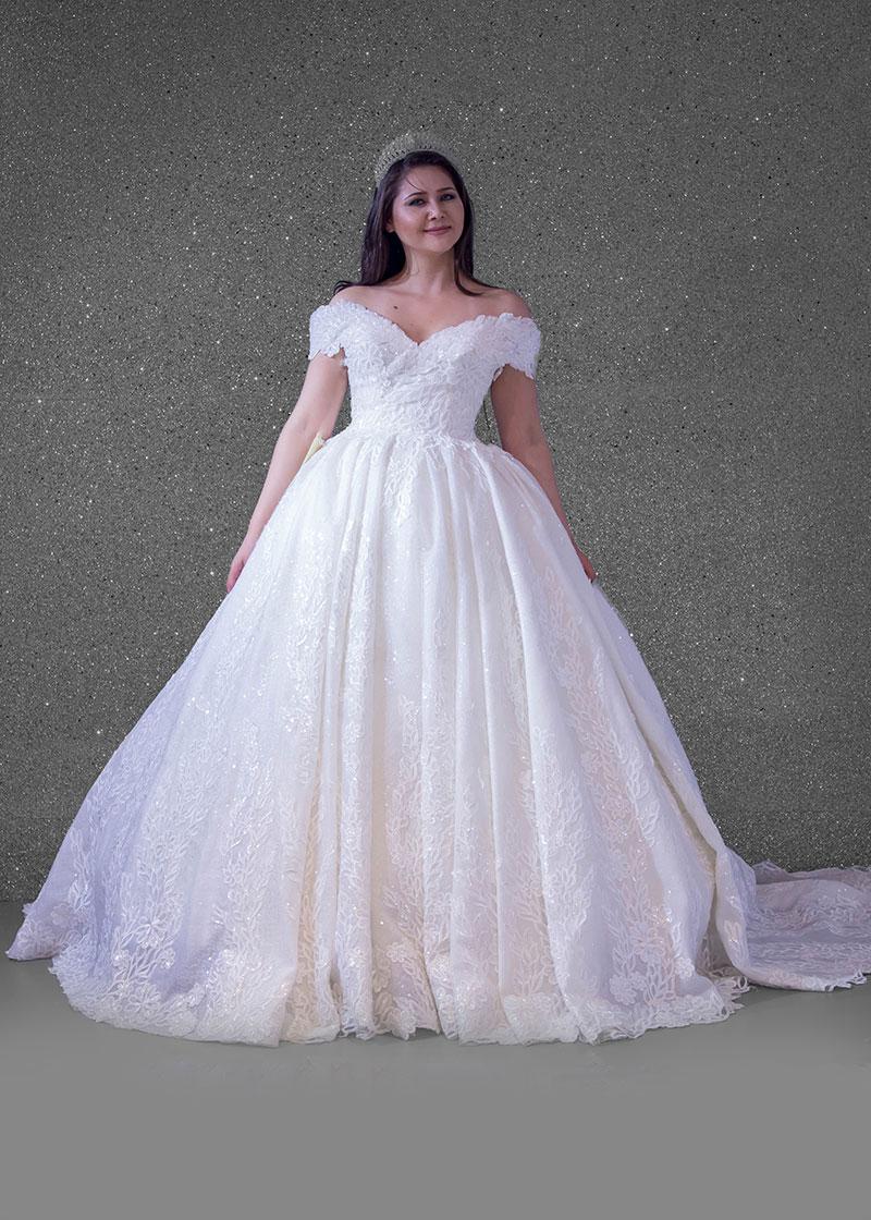بدلة عروس اوف وايت ليزر كومه كنار دانتيل
