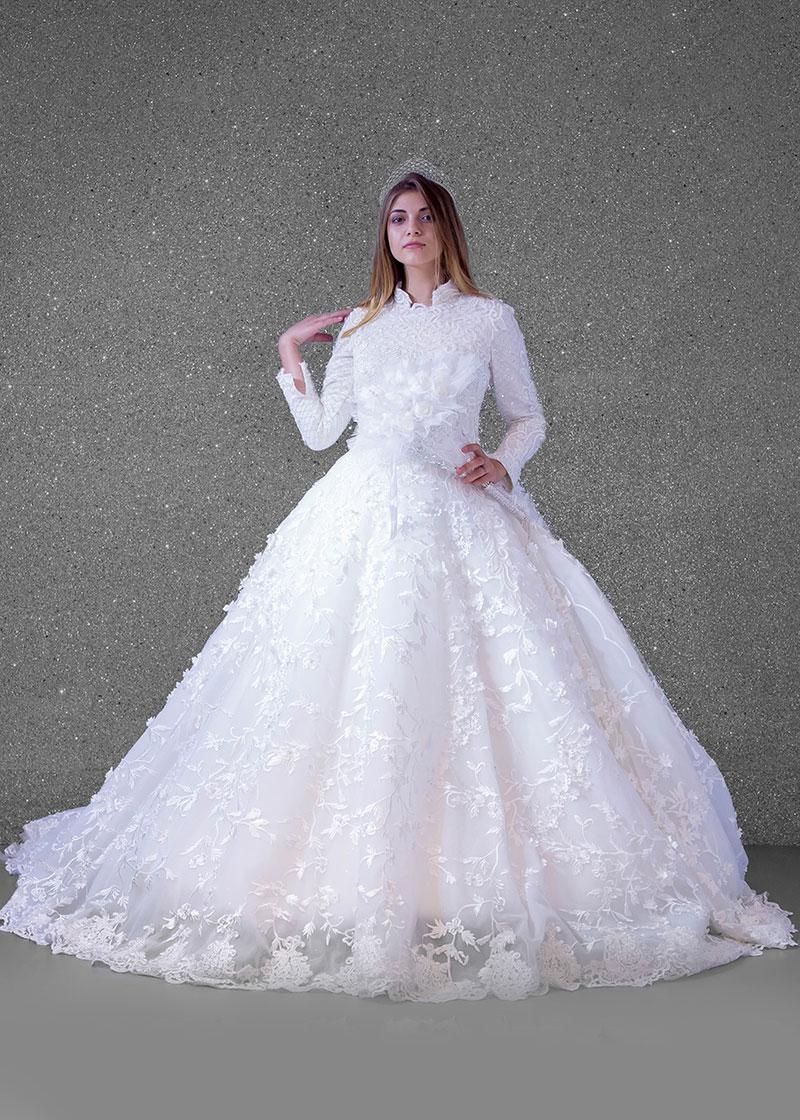 بدلة عروس إسلامي  اوف وايت  دانتيل كامل